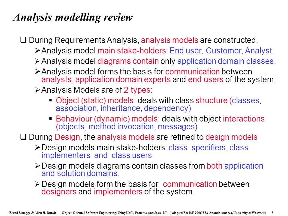 Analysis modelling review