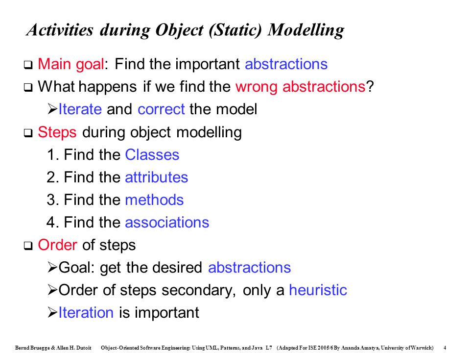 Activities during Object (Static) Modelling
