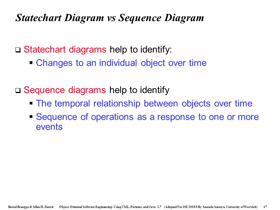 Statechart Diagram vs Sequence Diagram