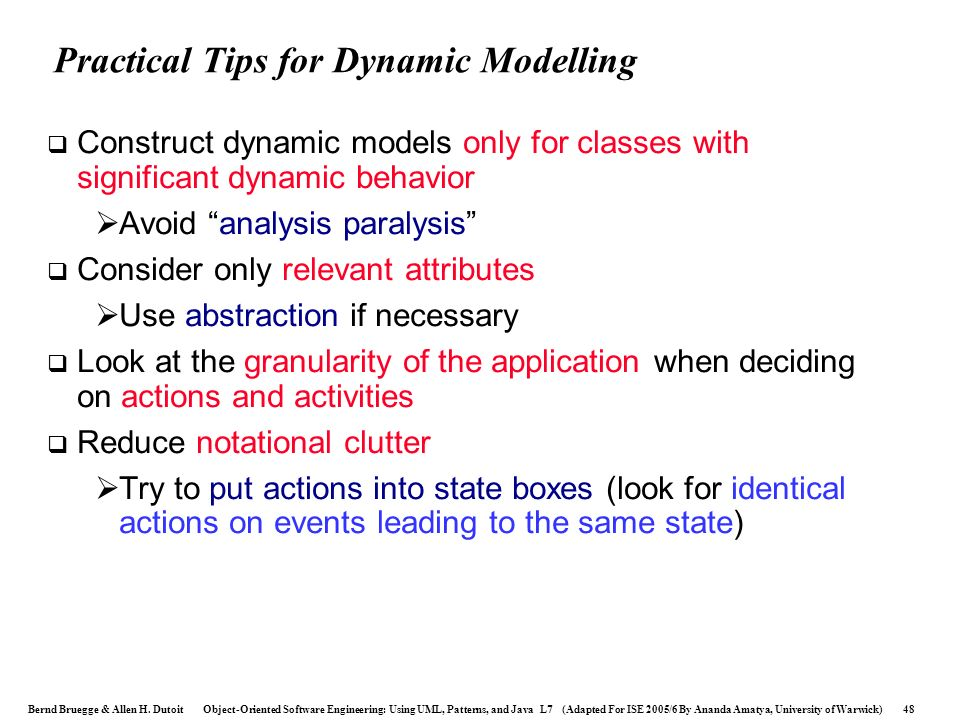 Practical Tips for Dynamic Modelling