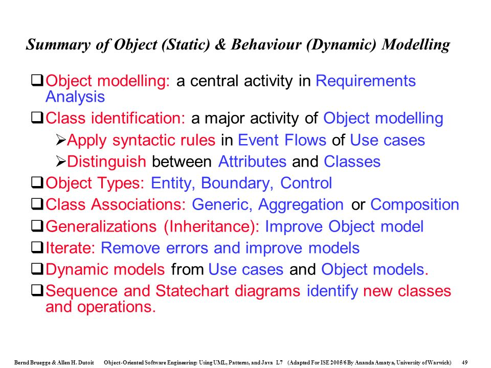 Summary of Object (Static) & Behaviour (Dynamic) Modelling