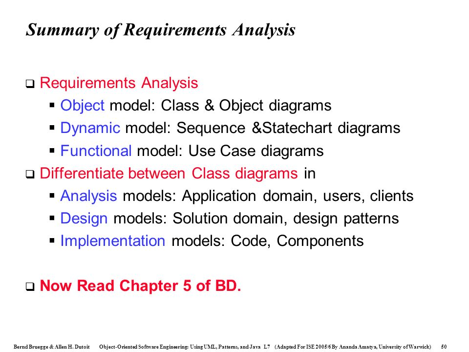 Summary of Requirements Analysis