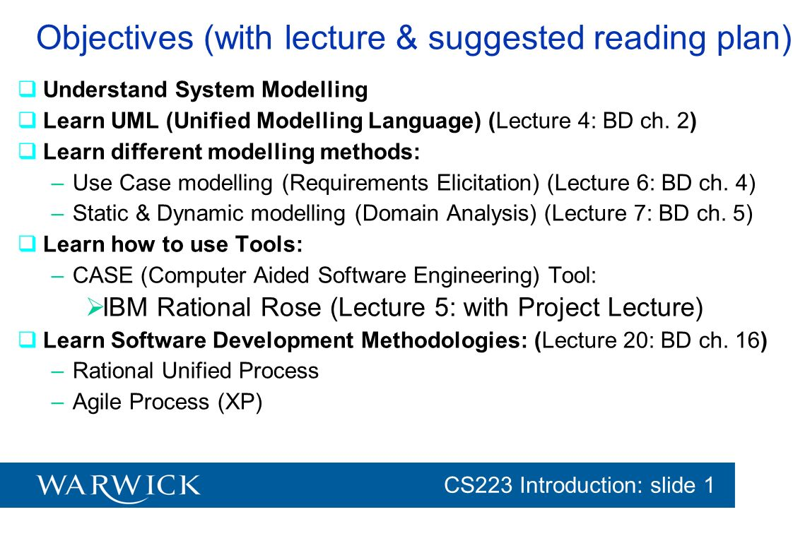 Objectives (with lecture & suggested reading plan)