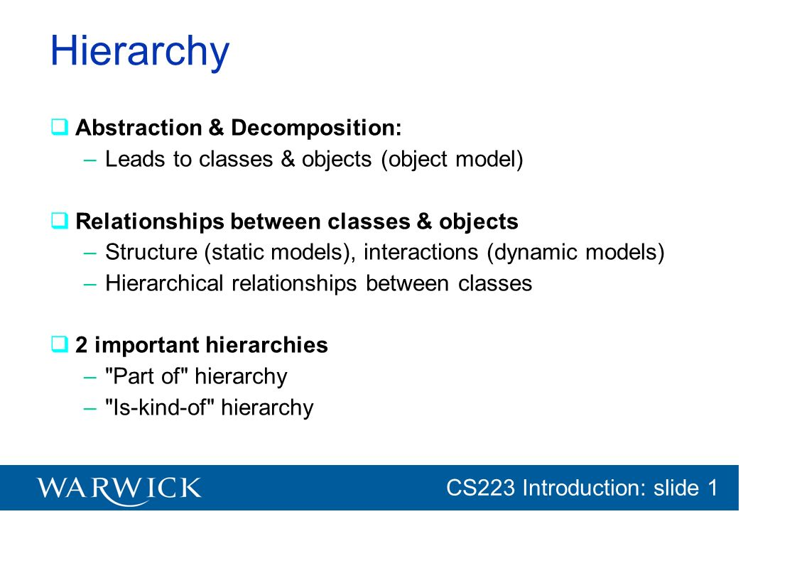 Hierarchy Abstraction & Decomposition: