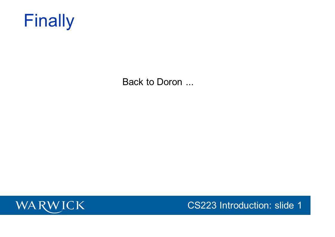 Finally Back to Doron ...