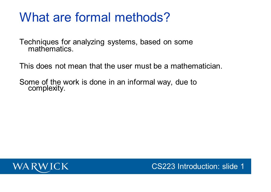 What are formal methods