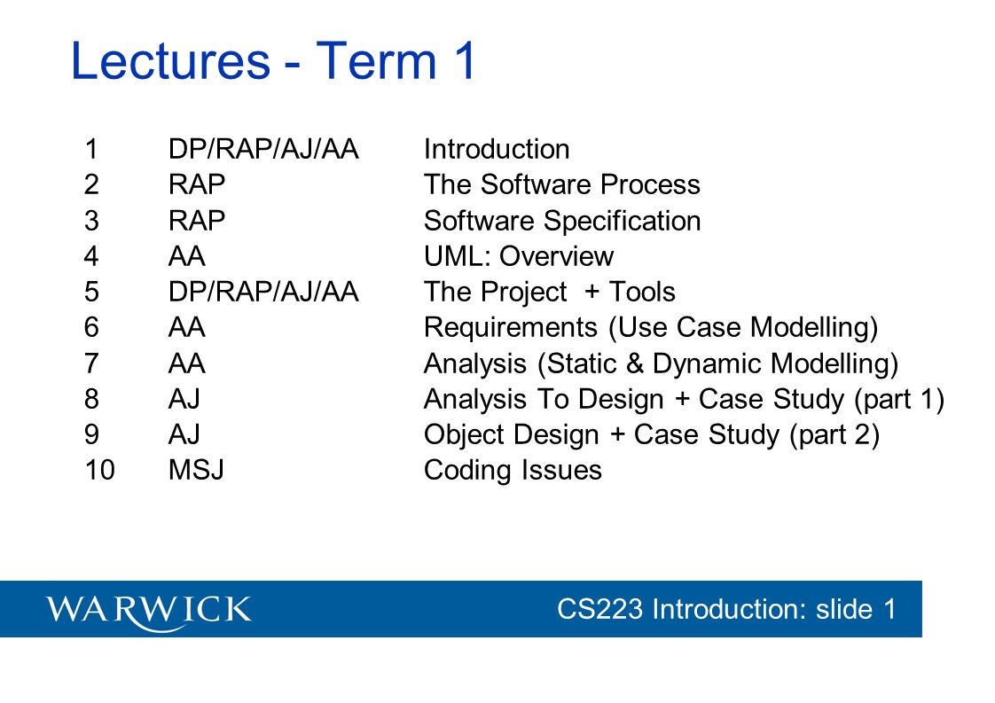 Lectures - Term 1 1 DP/RAP/AJ/AA Introduction