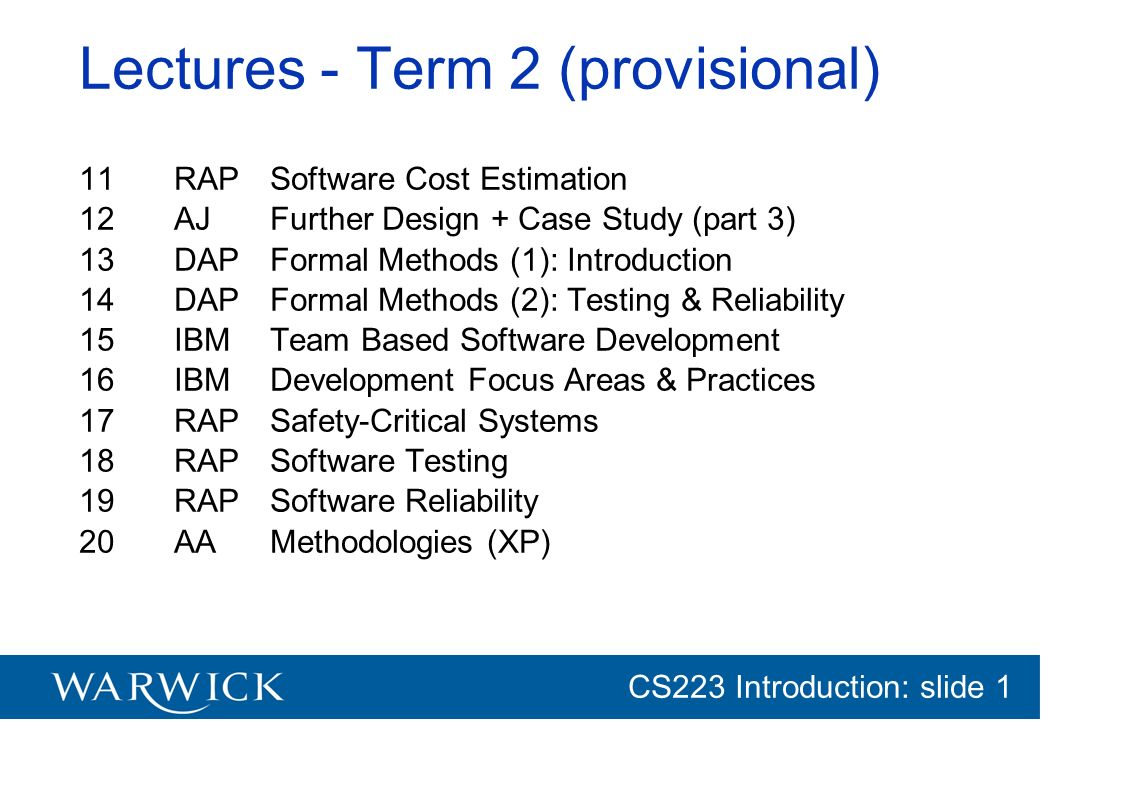 Lectures - Term 2 (provisional)