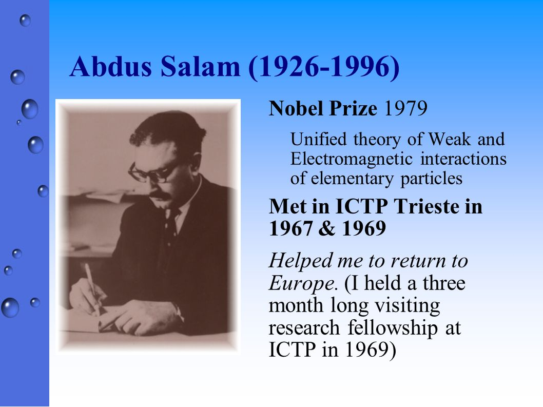 Abdus Salam (1926-1996) Nobel Prize 1979