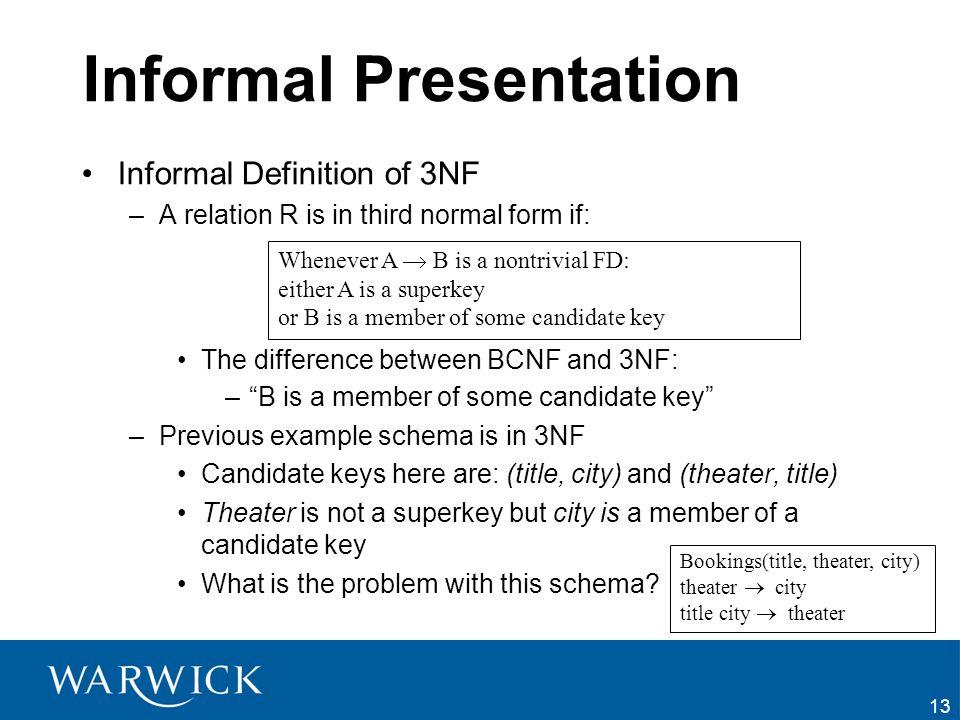 Informal Presentation