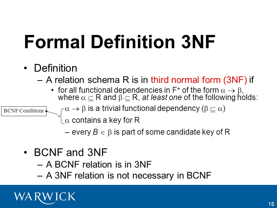 Formal Definition 3NF Definition BCNF and 3NF