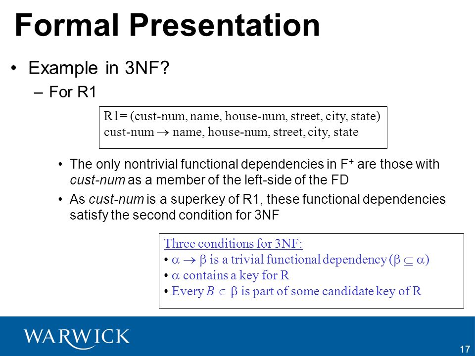 Formal Presentation Example in 3NF For R1