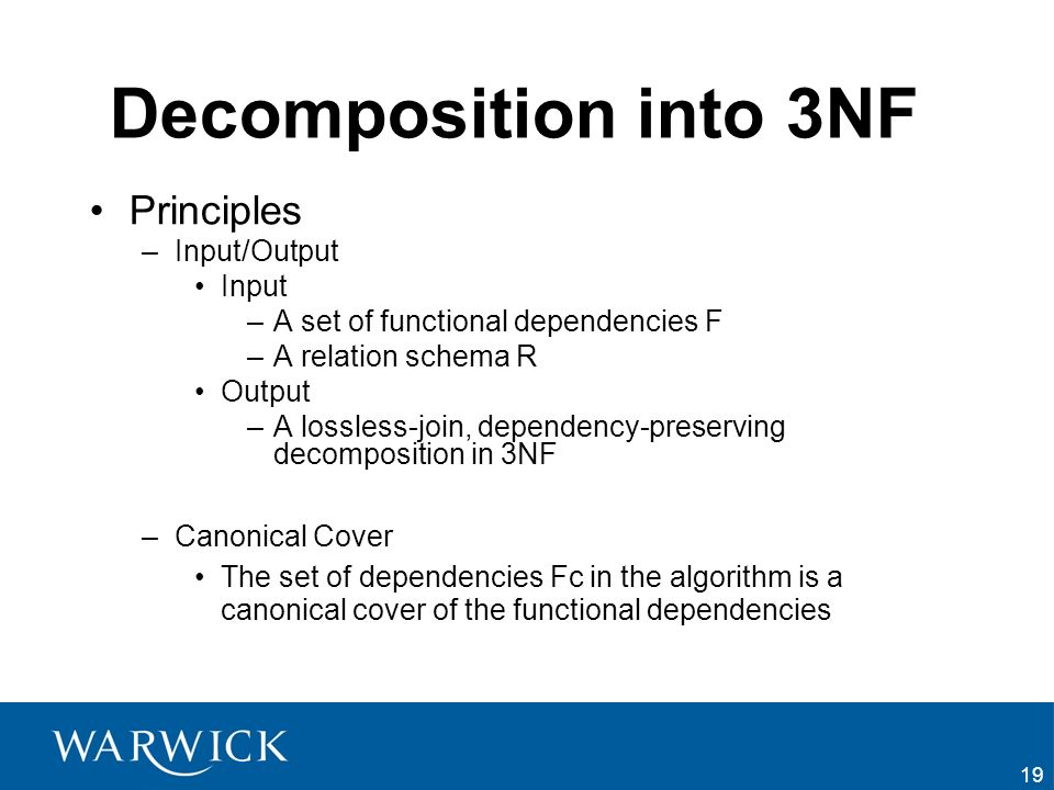 Decomposition into 3NF Principles Input/Output Input