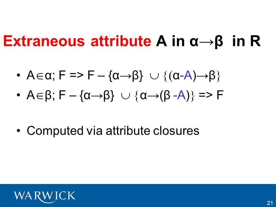 Extraneous attribute A in α→β in R