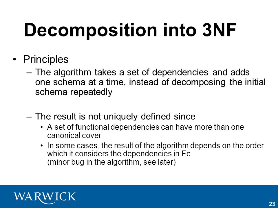 Decomposition into 3NF Principles