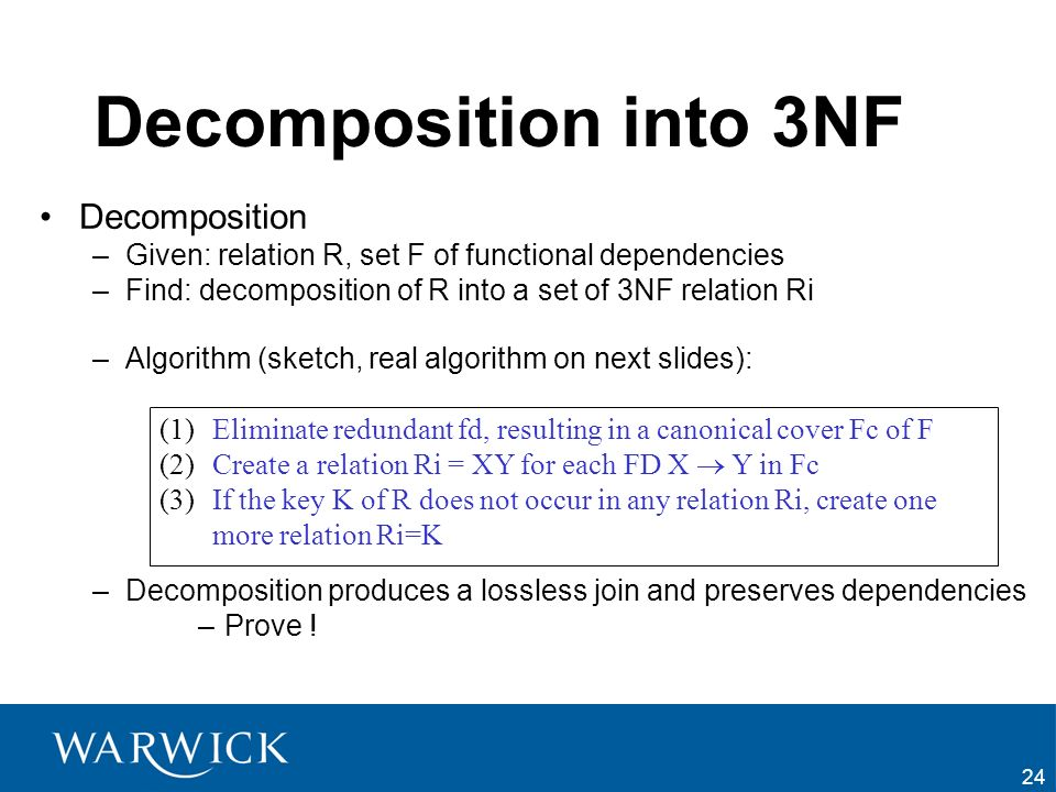 Decomposition into 3NF Decomposition