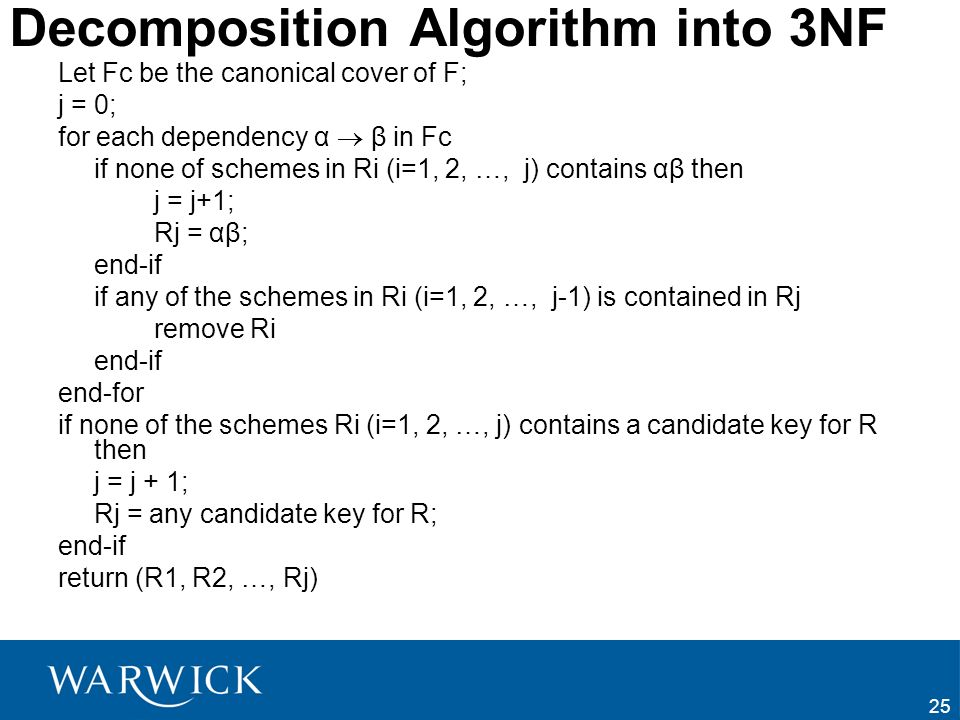 Decomposition Algorithm into 3NF