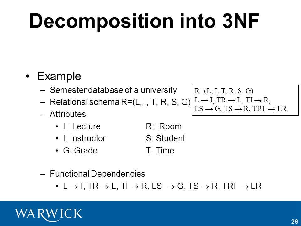 Decomposition into 3NF Example Semester database of a university