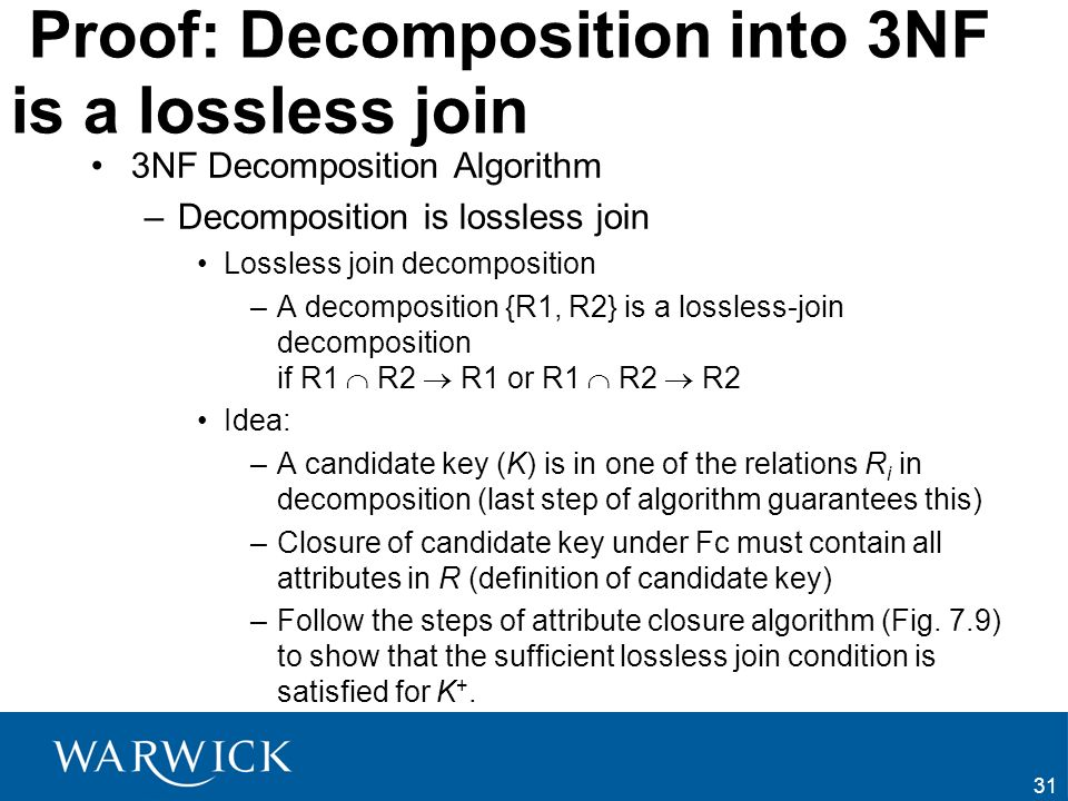 Proof: Decomposition into 3NF is a lossless join