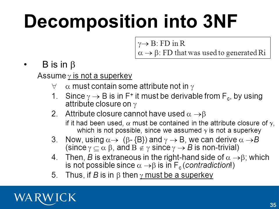 Decomposition into 3NF B is in   B: FD in R
