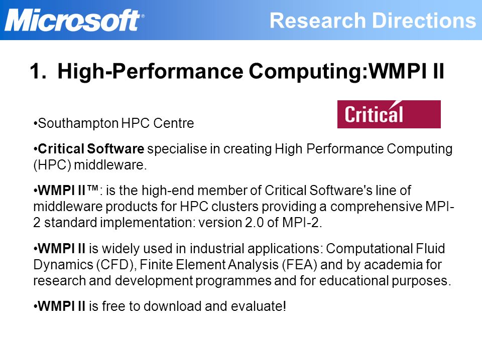 High-Performance Computing:WMPI II
