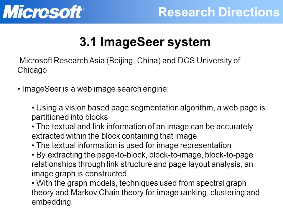 Research Directions 3.1 ImageSeer system