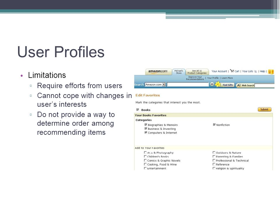 User Profiles Limitations Require efforts from users
