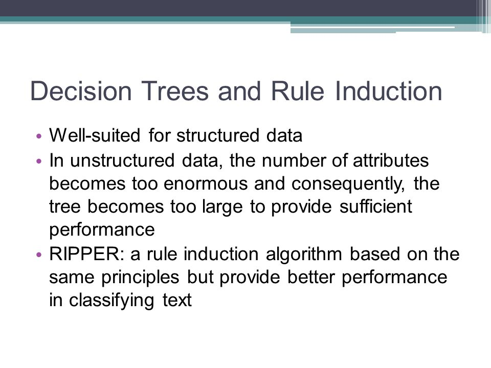 Decision Trees and Rule Induction
