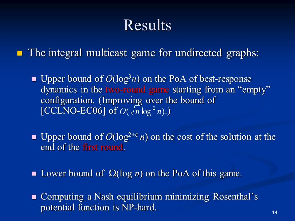 Results The integral multicast game for undirected graphs:
