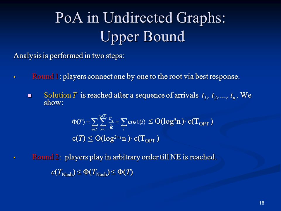 PoA in Undirected Graphs: Upper Bound