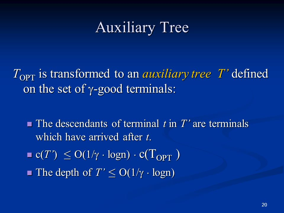 Auxiliary Tree TOPT is transformed to an auxiliary tree T' defined on the set of -good terminals: