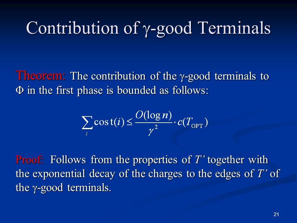 Contribution of -good Terminals
