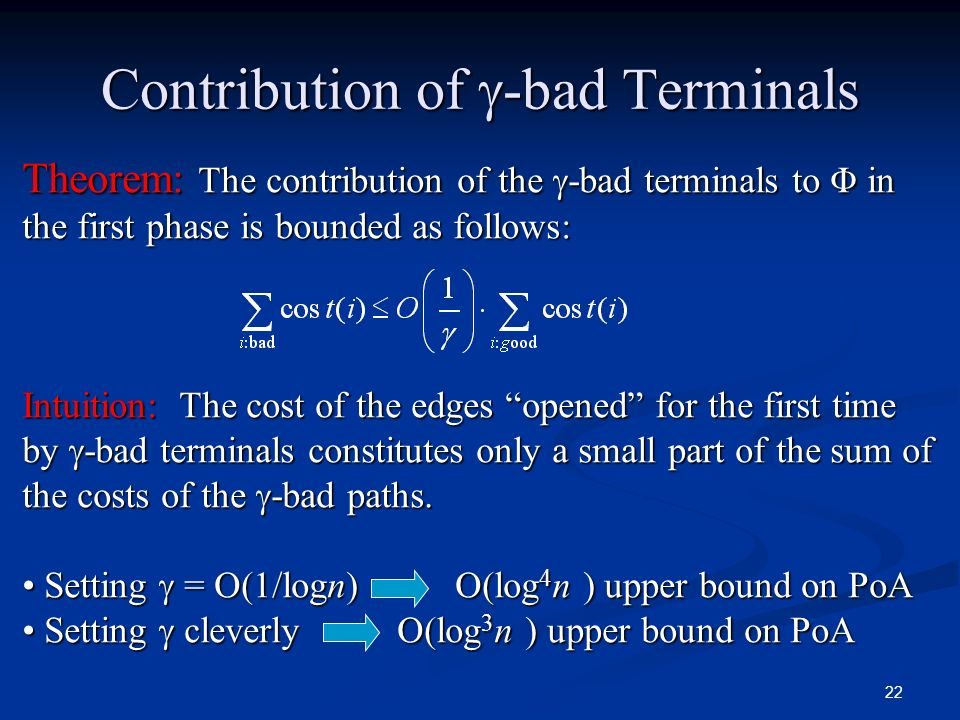 Contribution of -bad Terminals