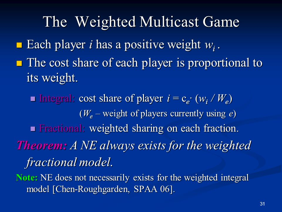The Weighted Multicast Game