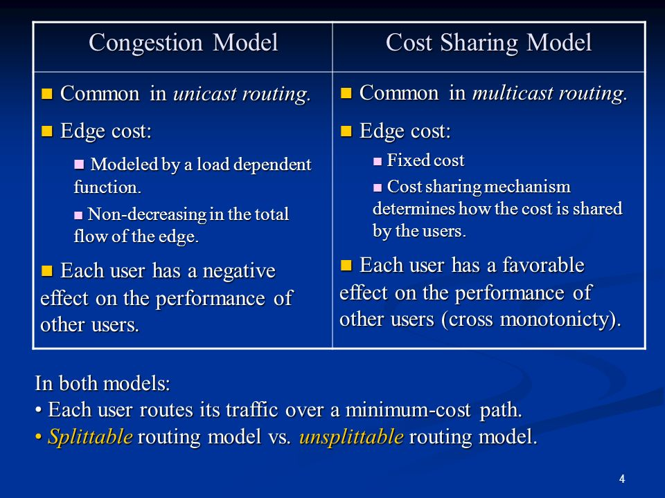 Common in unicast routing. Edge cost:
