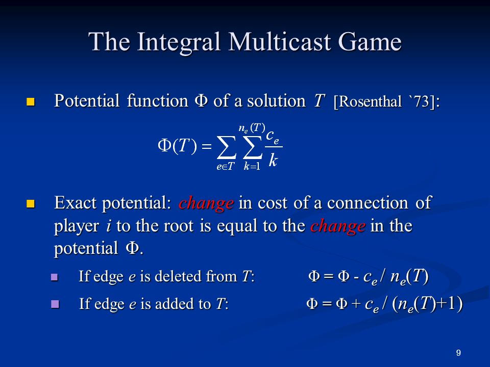 The Integral Multicast Game