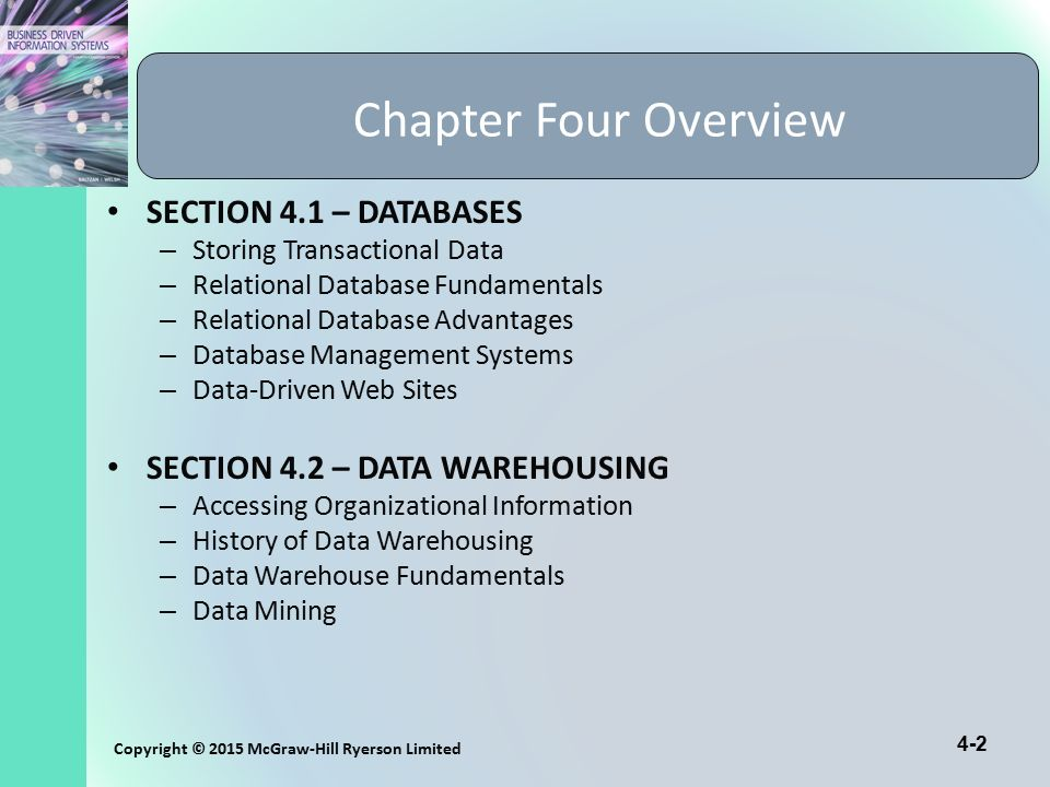Chapter Four Overview SECTION 4.1 – DATABASES