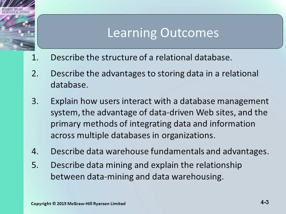 Learning Outcomes Describe the structure of a relational database.