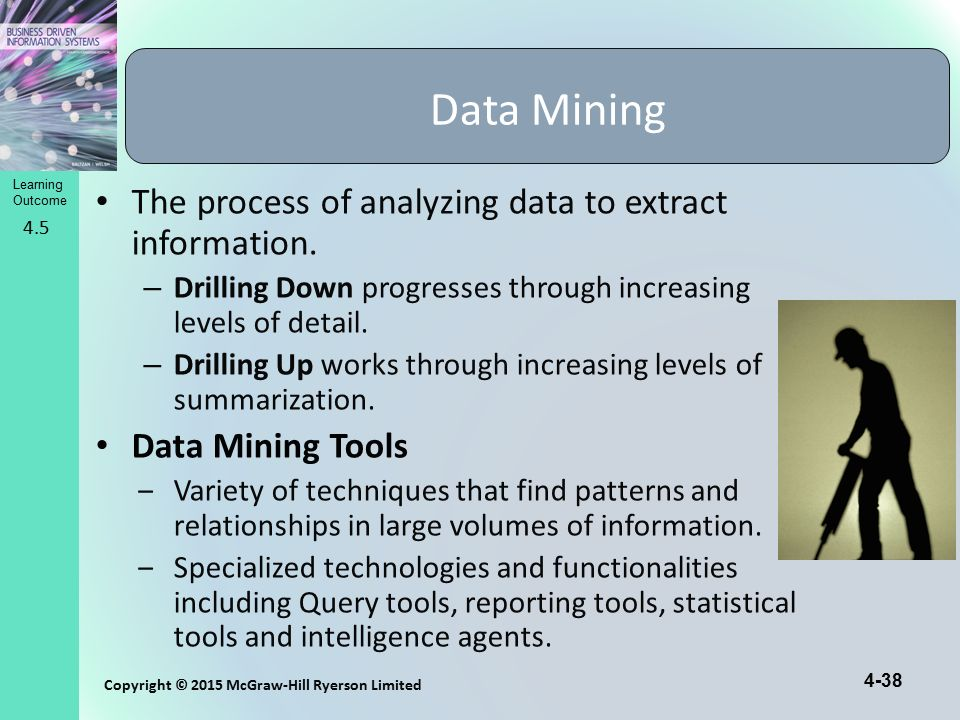 Data Mining The process of analyzing data to extract information.