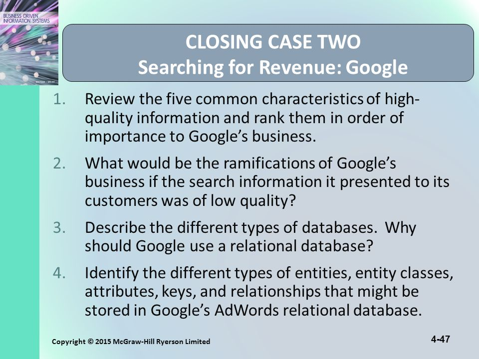 CLOSING CASE TWO Searching for Revenue: Google