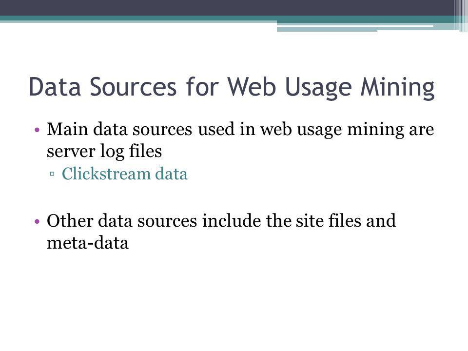 Data Sources for Web Usage Mining