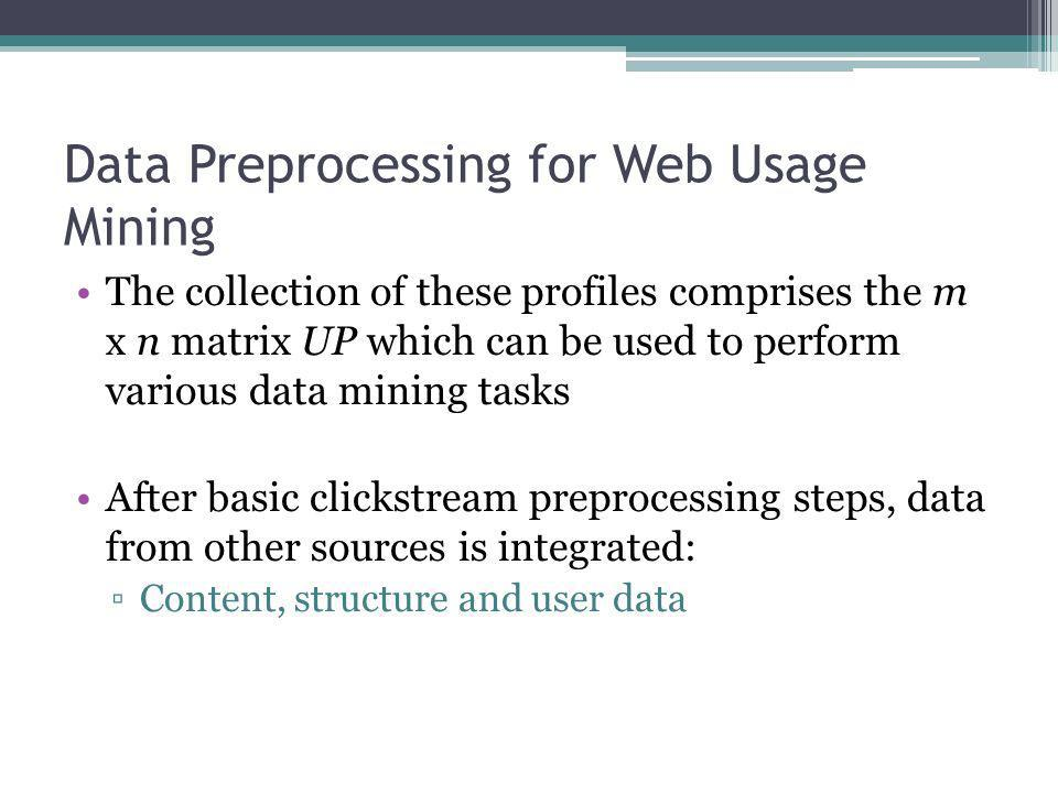 Data Preprocessing for Web Usage Mining