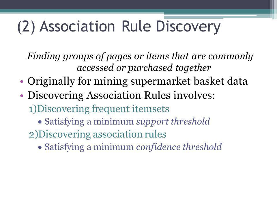 (2) Association Rule Discovery