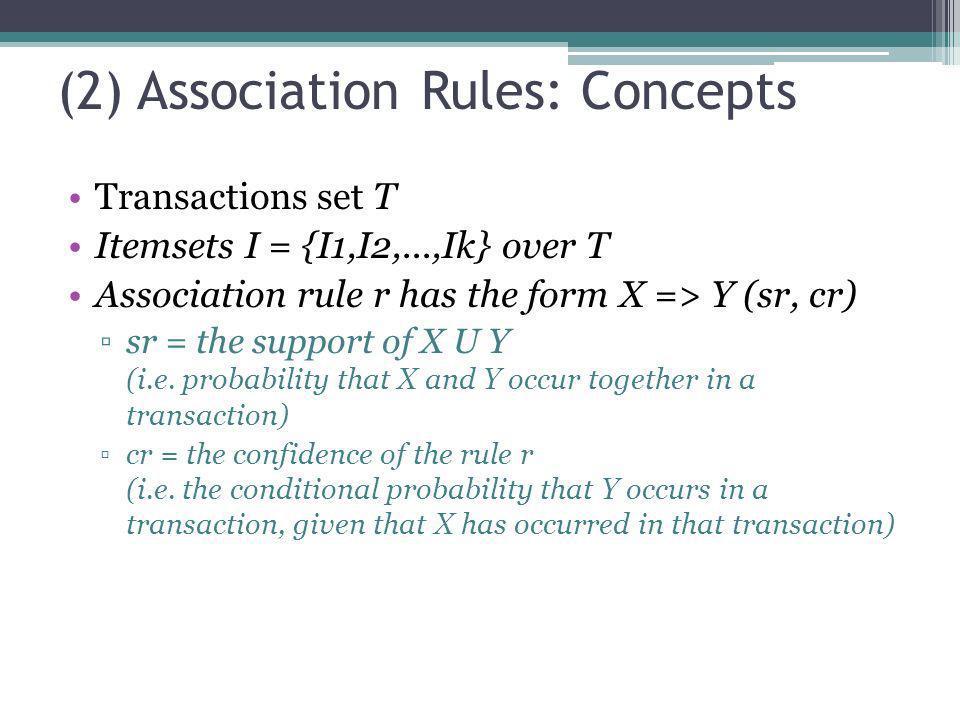 (2) Association Rules: Concepts