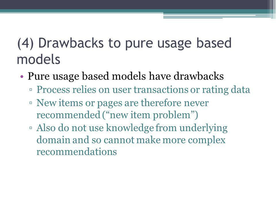 (4) Drawbacks to pure usage based models