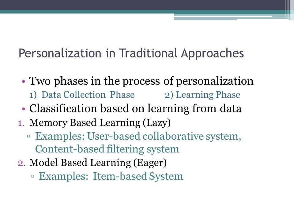 Personalization in Traditional Approaches