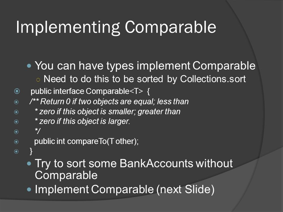 Implementing Comparable