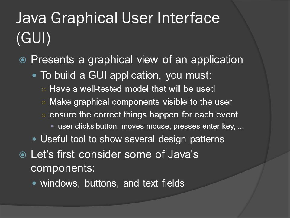 Java Graphical User Interface (GUI)