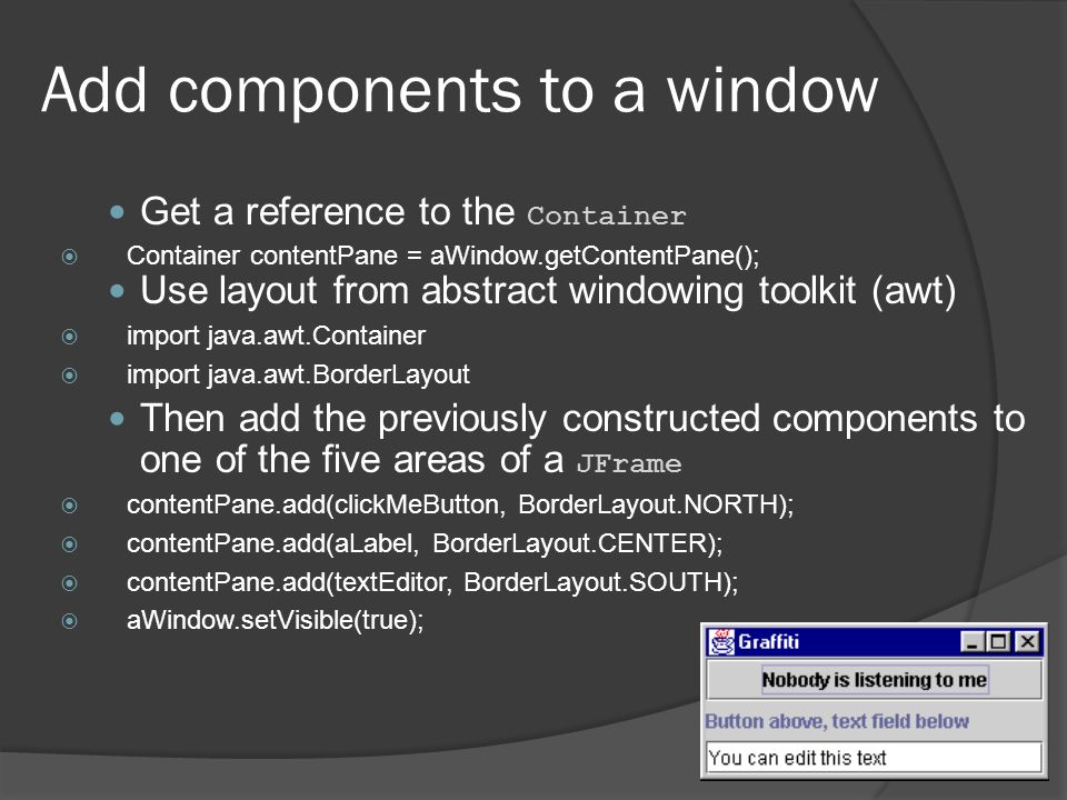 Add components to a window
