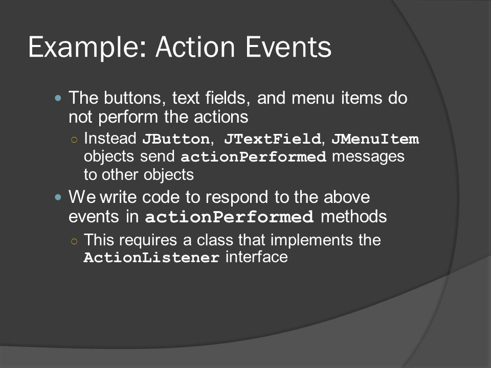 Example: Action Events